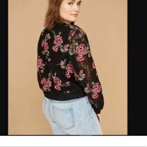 Lane Bryant Rose Lace Bomber Jacket